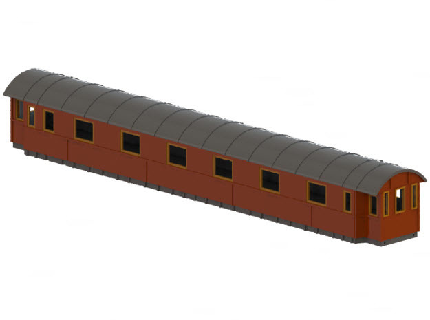 Co14 - Swedish passenger wagon in White Natural Versatile Plastic
