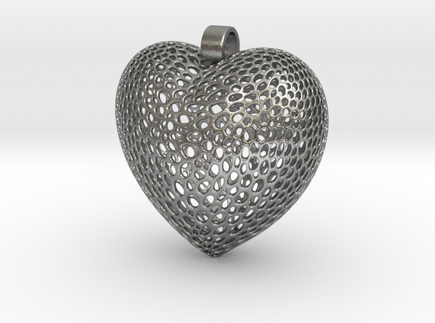 Pendant for Love and Heart  in Natural Silver: Small