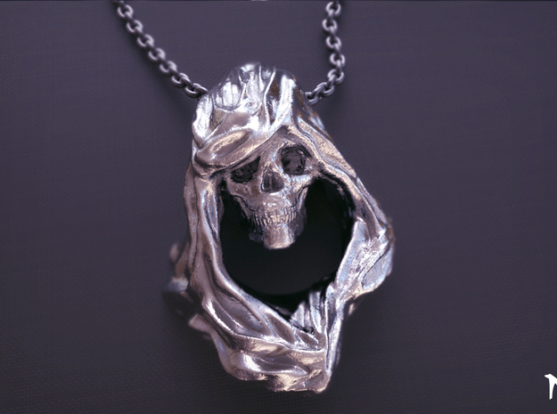 Reaper Pendant in Polished Silver