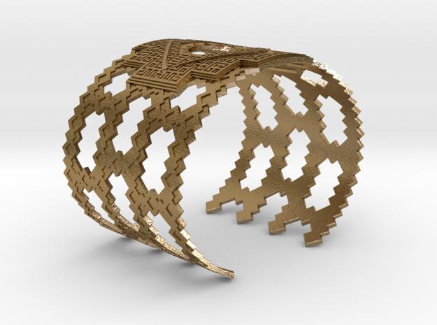 Inca Cross Wide Cuff Bracelet in Polished Gold Steel: Medium