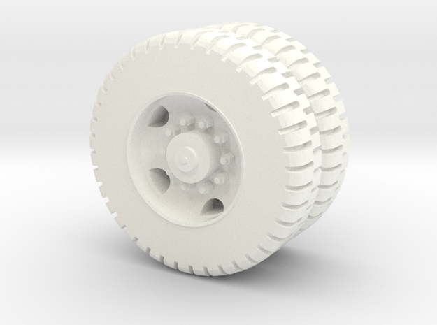 M809 11.0-20 NDT Dual Rear Wheels 1/72 in White Processed Versatile Plastic