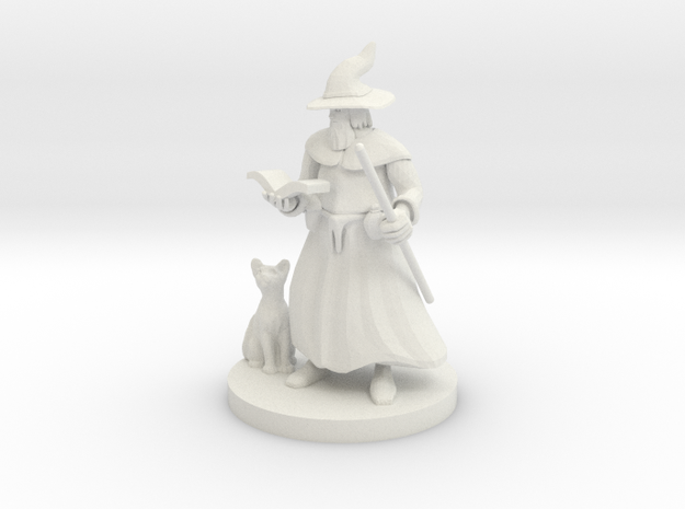 A Wizard and His Kitty in White Strong & Flexible