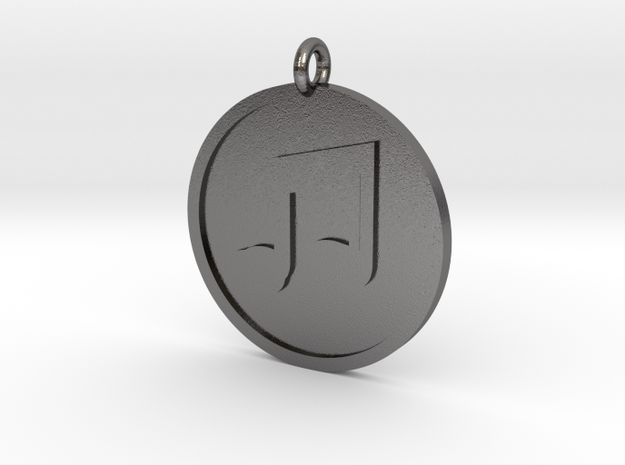 Beamed 8th Notes Pendant in Polished Nickel Steel