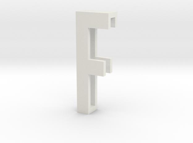 Choker Slide Letters (4cm) - Letter F in White Natural Versatile Plastic