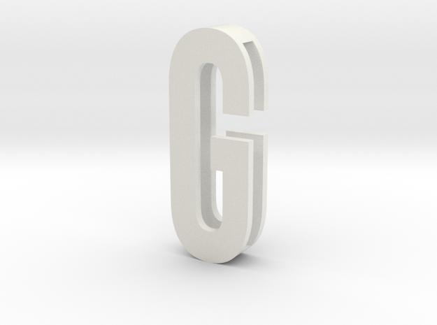 Choker Slide Letters (4cm) - Letter G in White Natural Versatile Plastic