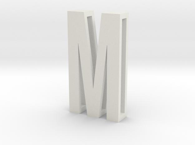 Choker Slide Letters (4cm) - Letter M in White Natural Versatile Plastic
