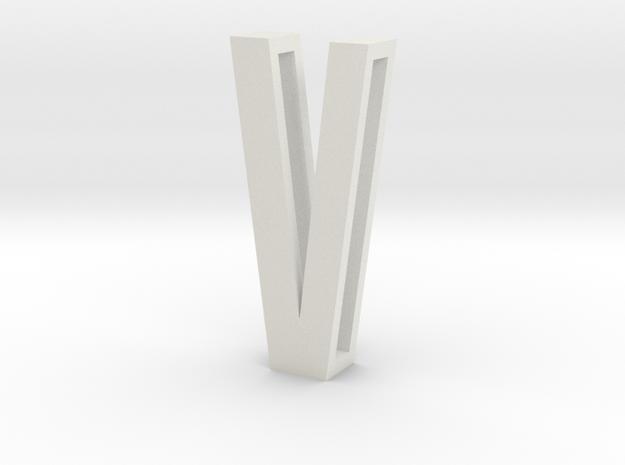 Choker Slide Letters (4cm) - Letter V in White Natural Versatile Plastic