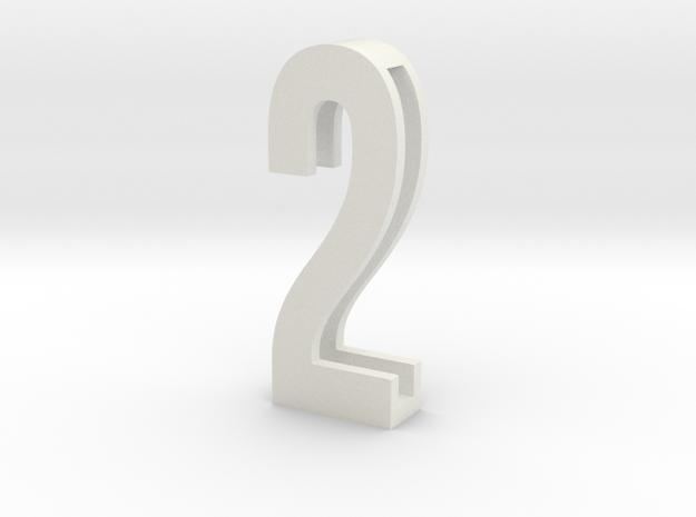 Choker Slide Letters (4cm) - Number 2 in White Natural Versatile Plastic