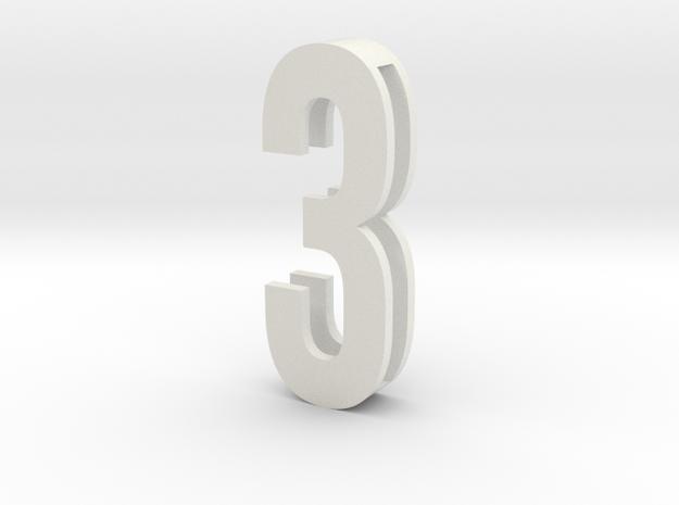Choker Slide Letters (4cm) - Number 3 in White Natural Versatile Plastic