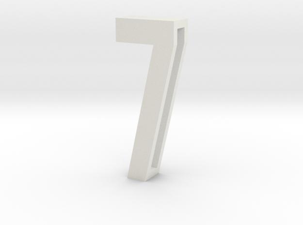 Choker Slide Letters (4cm) - Number 7 in White Natural Versatile Plastic