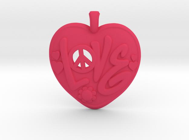 12 - Love-Locket  in Pink Processed Versatile Plastic: Medium