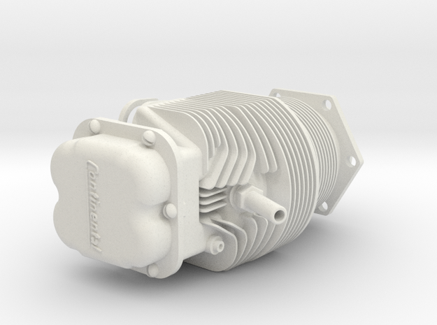 Piper Cub engine 1/4 scale cylinder in White Natural Versatile Plastic