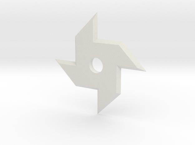 Stubby Ninja Star in White Natural Versatile Plastic