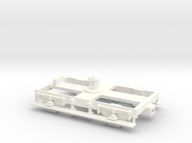 """GWR Dean 8' 6"""" Bogie With Running Boards in White Processed Versatile Plastic"""