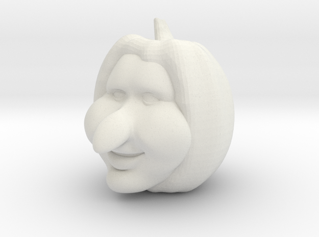 Halloween Pumpkin, 3d Carved Happy Toon Face in White Natural Versatile Plastic