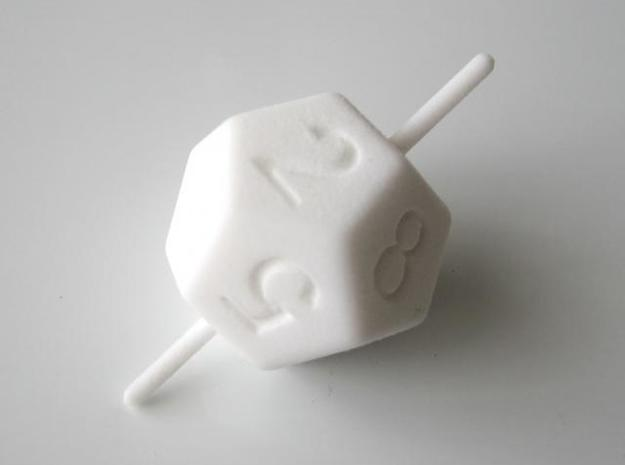 D10 Axis Dice in White Strong & Flexible Polished