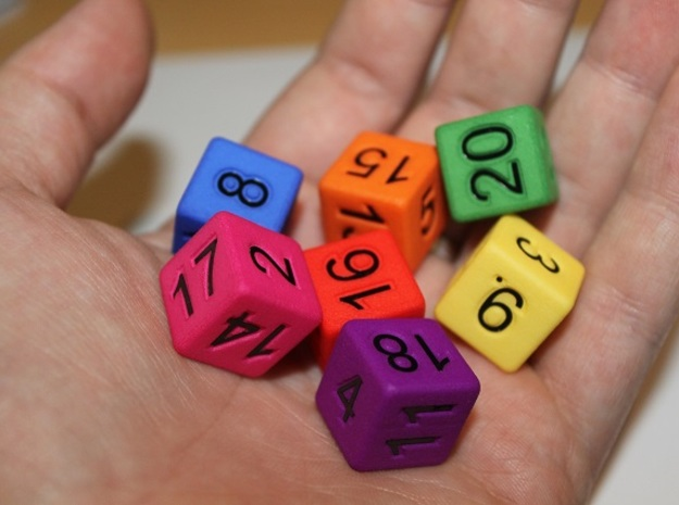 Seven Non-Transitive Dice in White Processed Versatile Plastic
