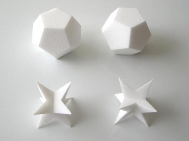 Space Filling Polyhedra 3d printed Two sets of two