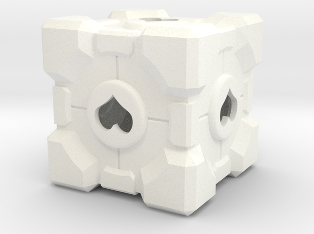 Companion Cube in White Processed Versatile Plastic: Extra Small