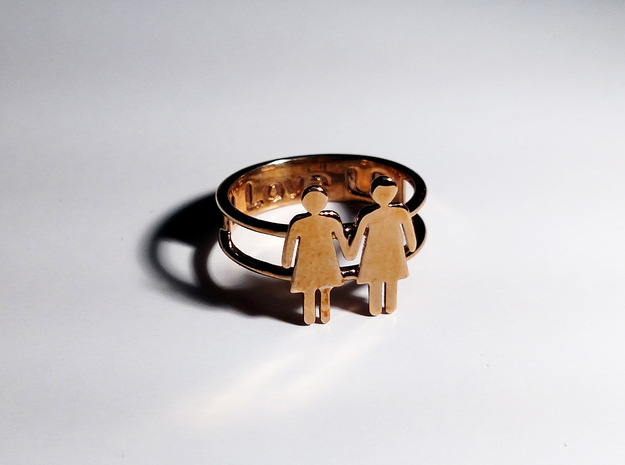 Love Collection Rings - Woman and Woman Ring in Polished Bronze: 6 / 51.5
