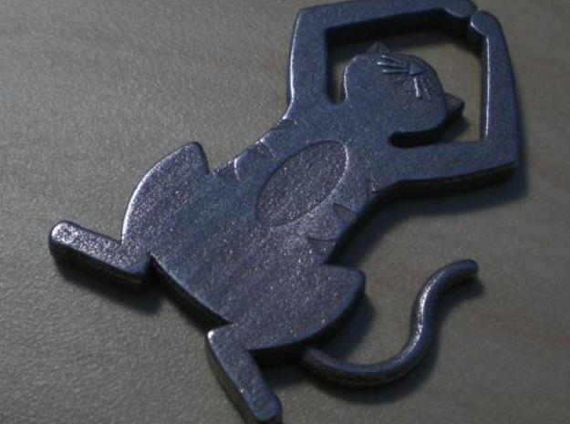 Detailed Cat Pendant in Polished Bronzed Silver Steel