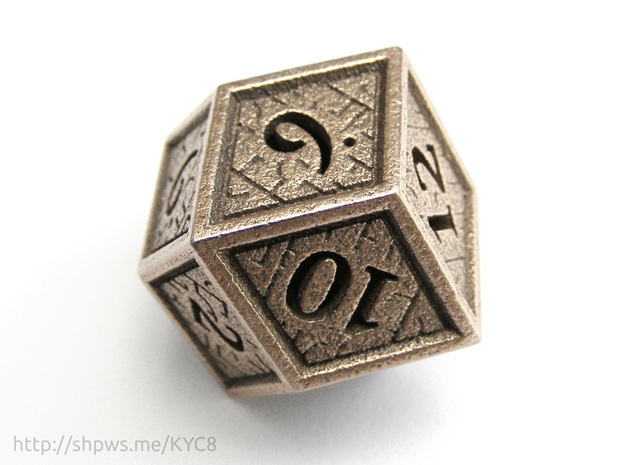 Hedron D12 (Hollow), balanced gaming die in Stainless Steel