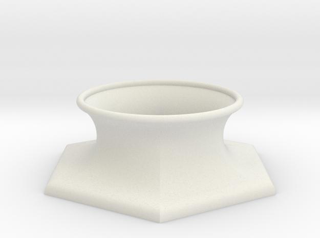 "The Universe Sphere Base ""Hexagon"" in White Natural Versatile Plastic"