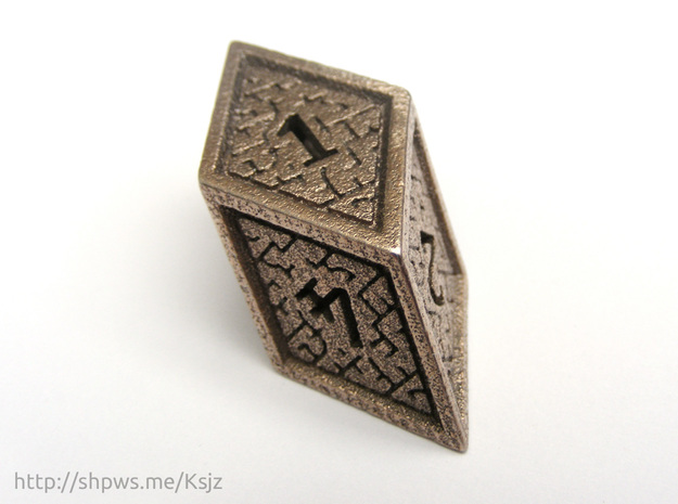 Hedron D6 (Hollow), balanced gaming die in Polished Bronzed Silver Steel