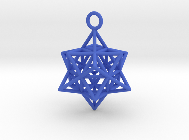 Pendant_Cuboctahedron-Star in Blue Strong & Flexible Polished