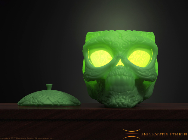 Day of the Dead/ Halloween Glow Skull Lantern 8cm in Green Processed Versatile Plastic