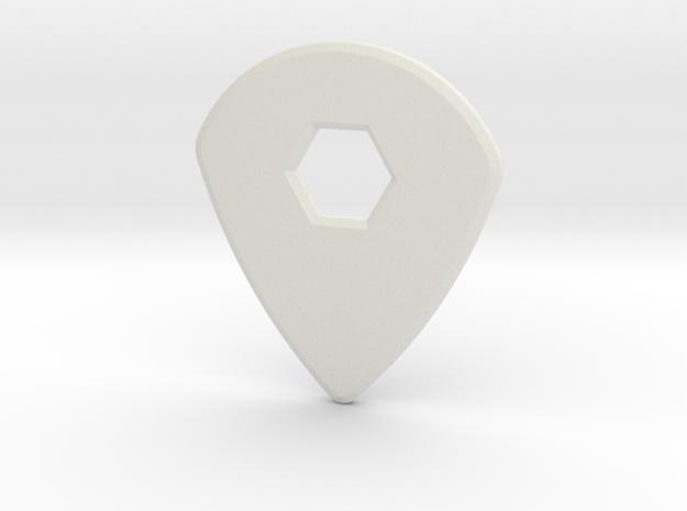 Guitar Pick (jazz design) in White Natural Versatile Plastic