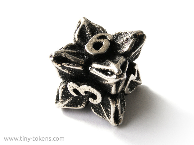 Floral Dice – D6 Gaming die in Polished Bronzed Silver Steel