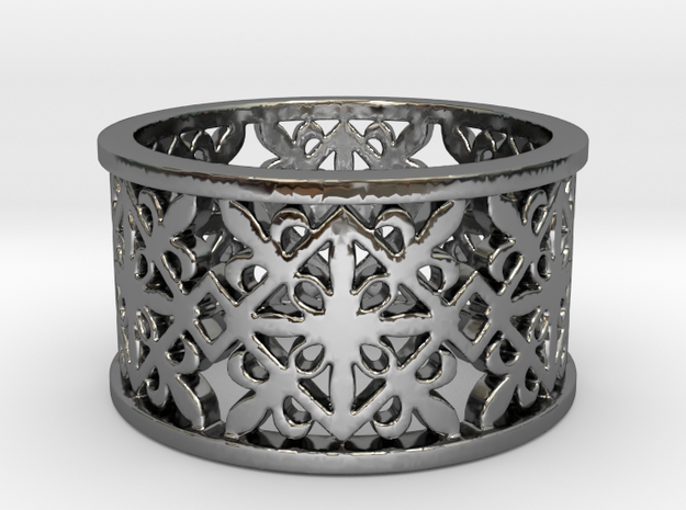 NOBLESSE 6 Ring Design Ring Size 8.5 in Fine Detail Polished Silver: 8.5 / 58