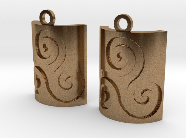Triskelion Square Earrings in Raw Brass