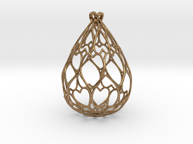 Filigree Drop Pendant in Raw Brass