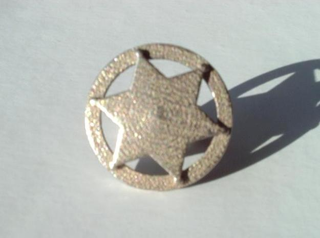Sheriff's Star Cufflinks (Style 3) 3d printed Shown in plain stainless finish