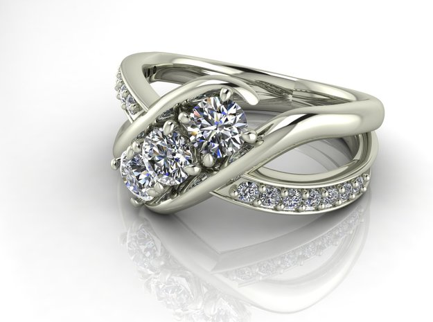 Classic 3 stone split shank NO STONES SUPPLIED in Fine Detail Polished Silver
