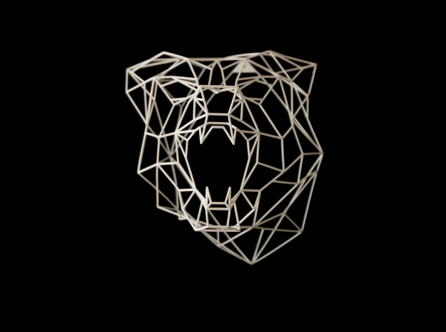 Wire Frame Wolf decor-L in White Strong & Flexible: Large
