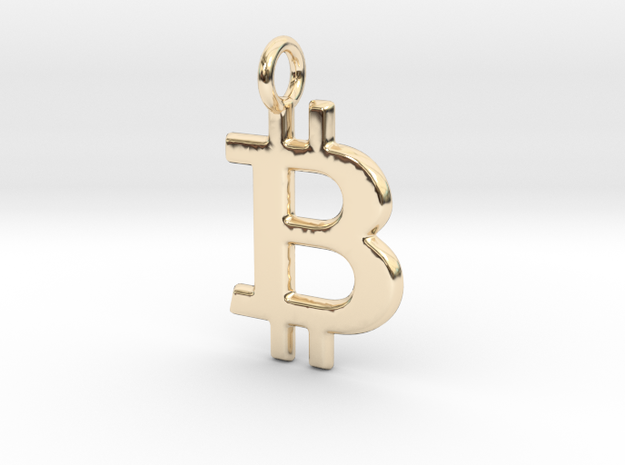 Bitcoin Pendant in 14K Yellow Gold