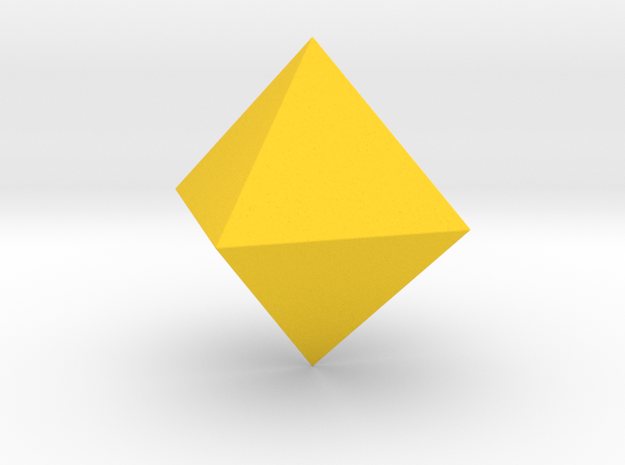 3 Octahedron (eight faces). in Yellow Strong & Flexible Polished