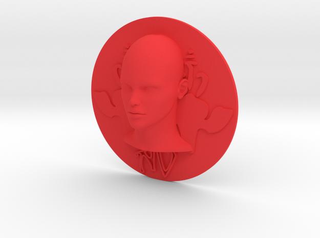Art Nouveau - Round Disc 80mm (001) in Red Processed Versatile Plastic