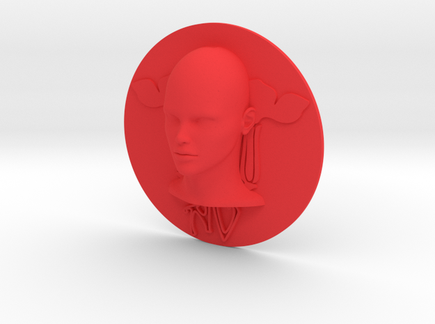 Art Nouveau - Round Disc 80mm (002) in Red Processed Versatile Plastic