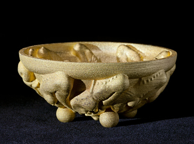 Elastic Life-cycle Bowl, 4 inch - Fine Art Sculpt. in Polished Gold Steel