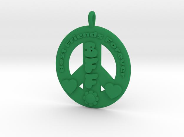 11- BEST FRIENDS FOREVER/ PEACE SIGN  in Green Processed Versatile Plastic: Medium