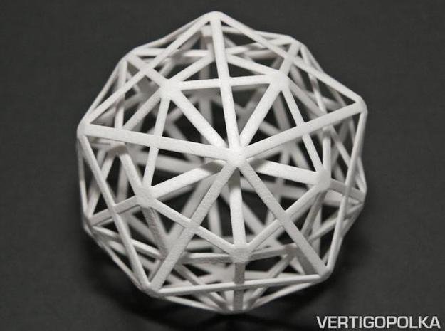 1st Stellation of an Icosidodecahedron in White Natural Versatile Plastic