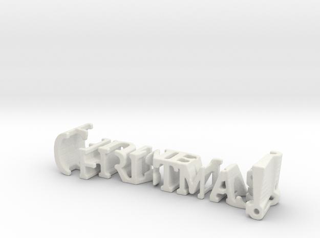 3dWordFlip: Christmas!/Humbug! in White Natural Versatile Plastic