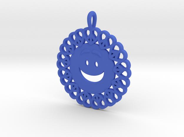 18- Smiley Face/ Pretzel Heart circles  in Blue Processed Versatile Plastic: Small