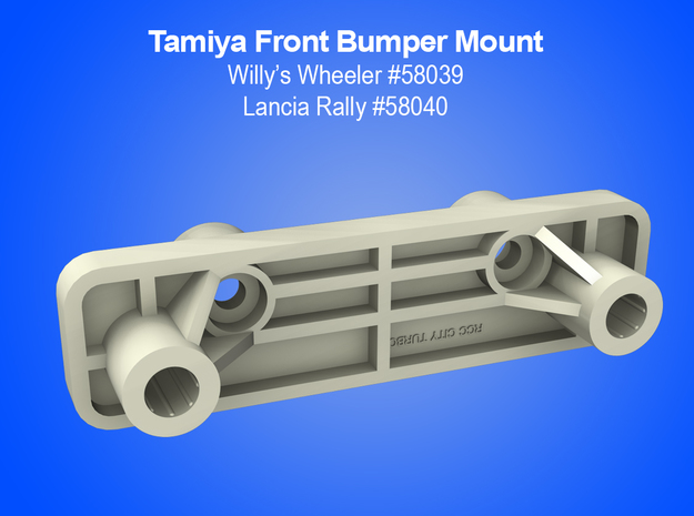 Tamiya RC Bumper Mount for Vintage Willy's Wheeler in White Natural Versatile Plastic