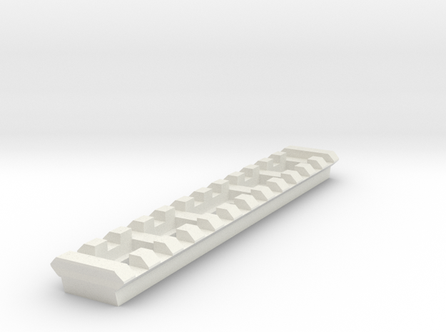 12 Slots Picatinny Rail (Pre-Drilled) in White Natural Versatile Plastic