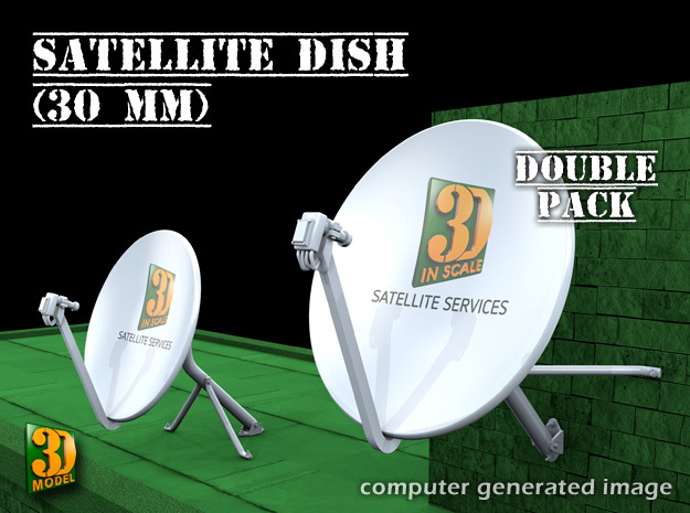 Satellite dish (30mm) - double pack in Smooth Fine Detail Plastic